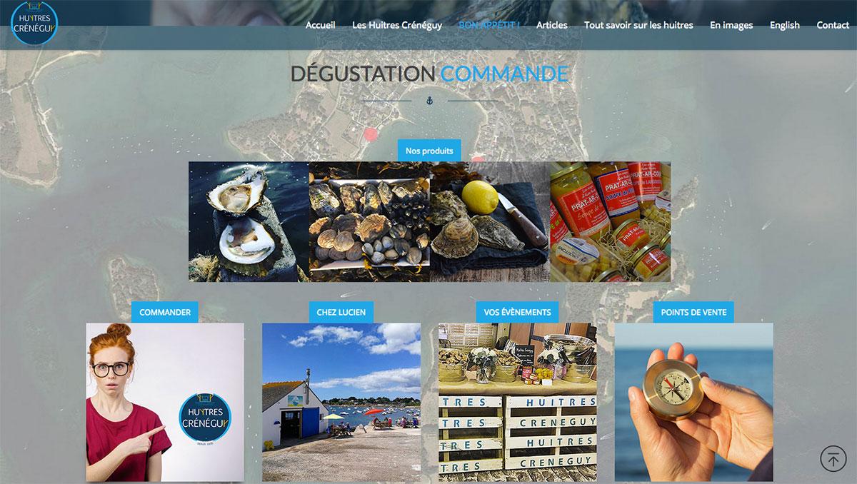 la dernière réalisation de la fabrique des images est un site responsive pour les huitres crénéguy à larmor baden