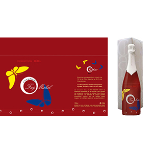 Le sleeve bouteille de champagne rosé millésimé a été créé par La Fabrique des Images.