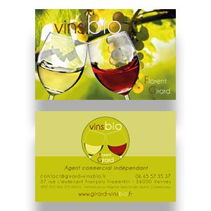 Carte de viste recto et verso de Girard vins bio.