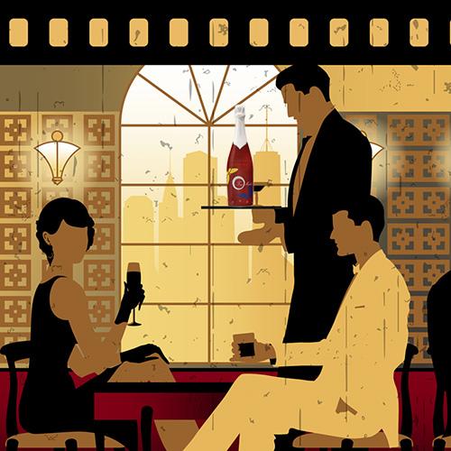 Illustration avec serveur apportant une bouteille de champagne rosé.