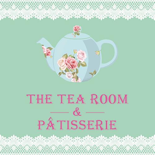 Logo The Tea Room and Patisserie avec théière.